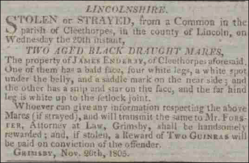 Private Notice in the Stamford Mercury 1805
